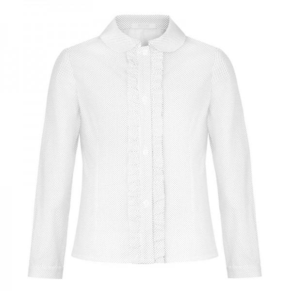 biała bluzka w groszki
