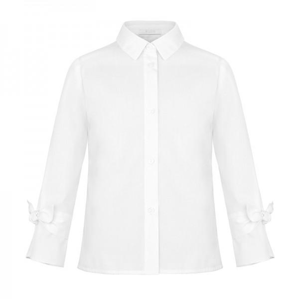 biała bluzka z kokardkami na rękawach