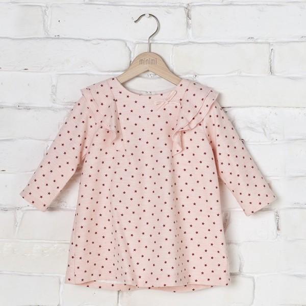 różowa sukienka w gwiazdki