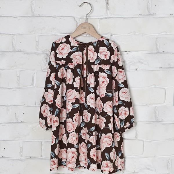 brązowa sukienka w róże