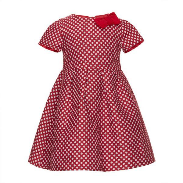 czerwona sukienka w szare groszki