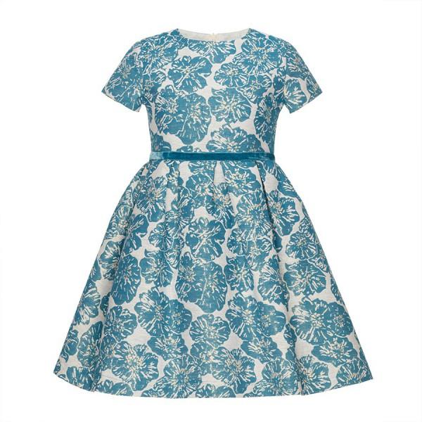 sukienka w niebiesko-złote kwiaty
