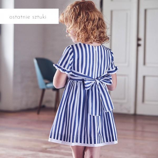 sukienka w niebieskie paski z kokardą