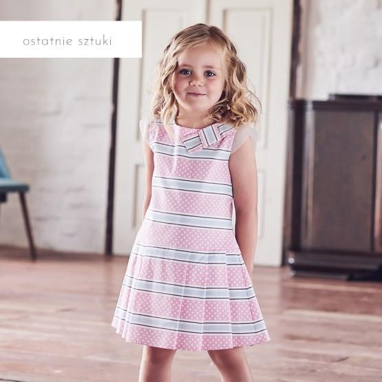 sukienka różowa w paski i kropki