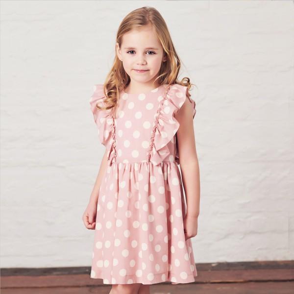 sukienka różowa w grochy