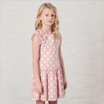 różowa sukienka z grochy