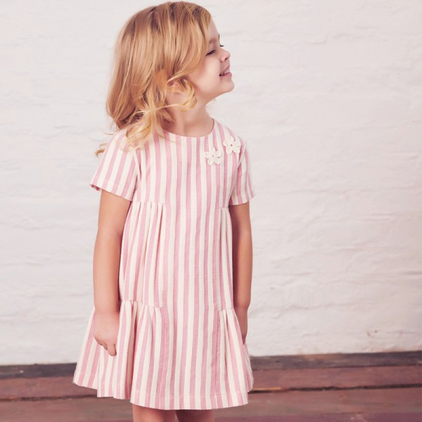 sukienka w różowo-kremowe paski