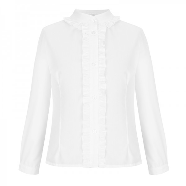 biała bluzka z marszczeniami