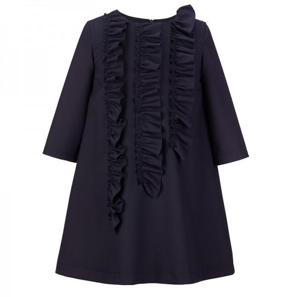 sukienka z pionowymi falbanami