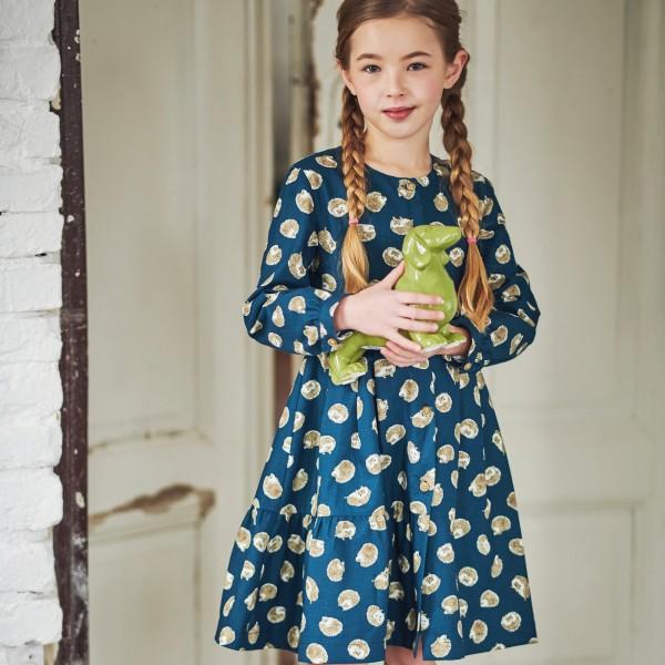 sukienka w jeżyki z paskiem