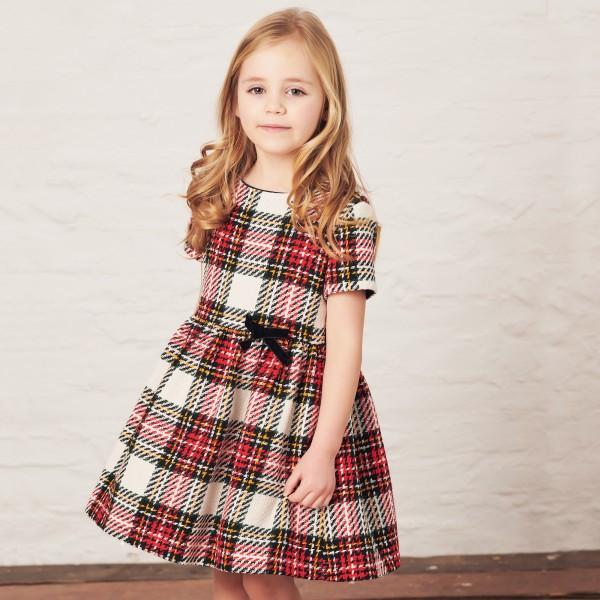 sukienka w kratę z kokardką