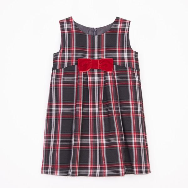 sukienka w czerwono-szarą kratę