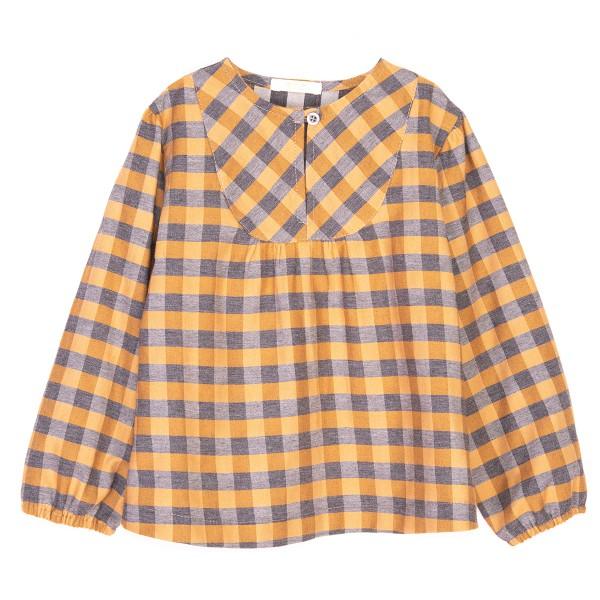 bluzka w zółto-szarą kratkę