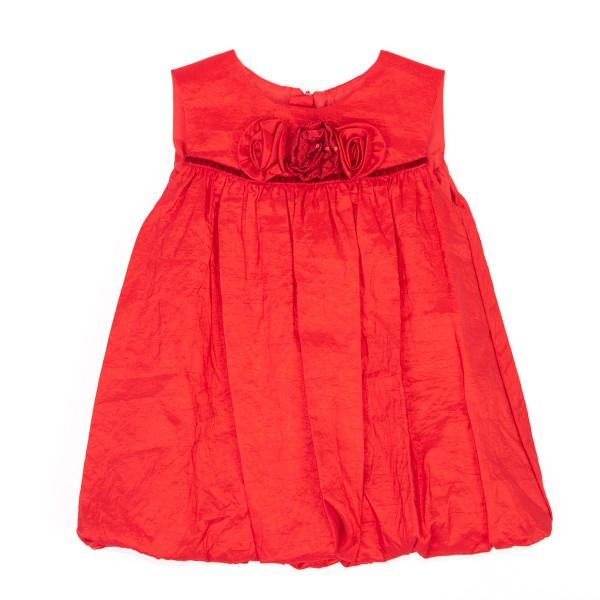 czerwona sukienka z kwiatkami