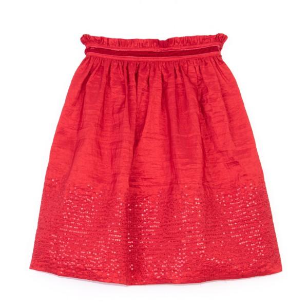 czerwona spódniczka z cekinami