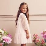 sukienka różowa z siatki w kropeczki 122-146