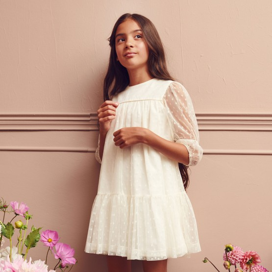sukienka kremowa z siatki w kropeczki 122-146