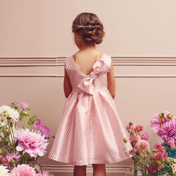 sukienka różowa w kropki