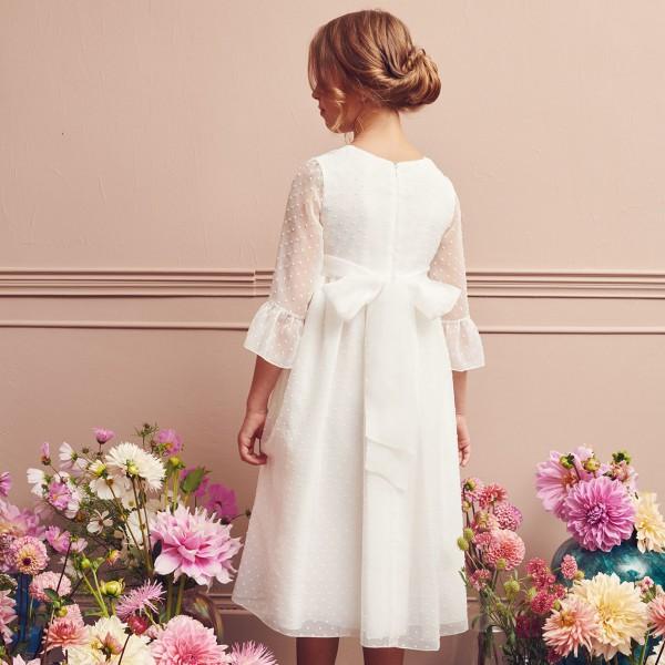 sukienka z szyfonu w haftowane kropki