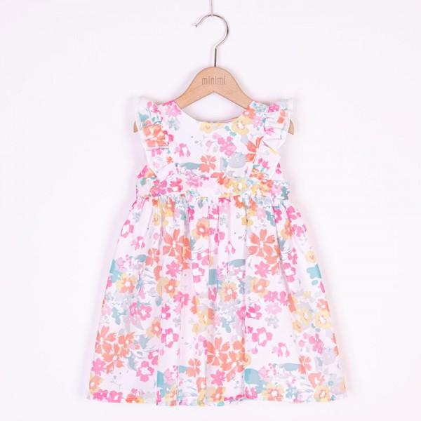 sukienka w kolorowe kwiatki z falbankami