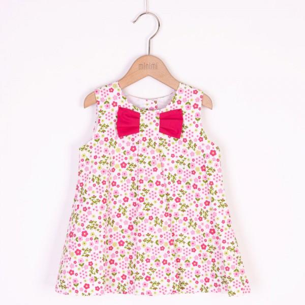 sukienka w kwiatuszki z różową kokardą