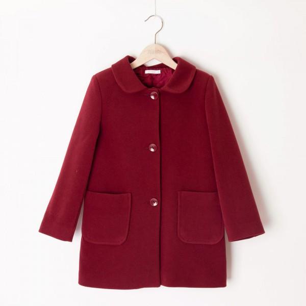 płaszcz bordowy z kieszeniami