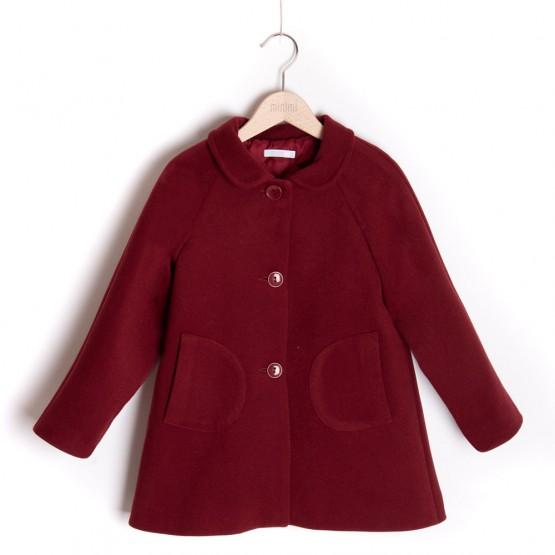 płaszcz bordowy z kieszonkami