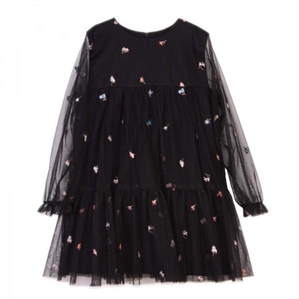 czarna sukienka w kwiatuszki