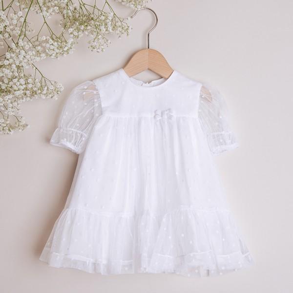 sukienka biała tiulowa z kokardką
