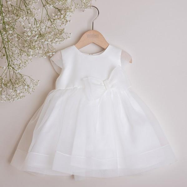 sukienka kremowa z kokardą z organdyny