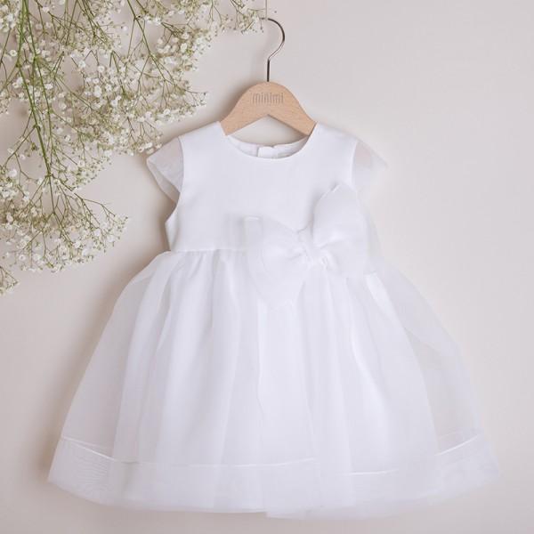 sukienka biała z kokardą z organdyny
