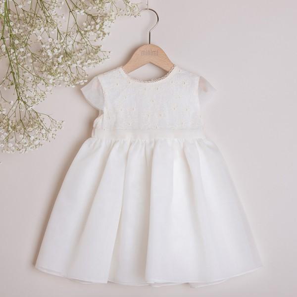 sukienka kremowa z kwiatowym haftem
