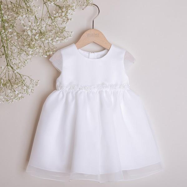 sukienka biała z koronką w pasie