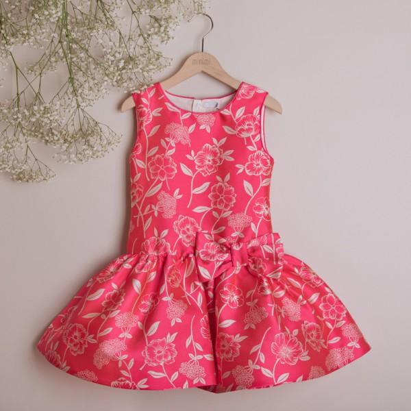 sukienka różowa w kwiaty