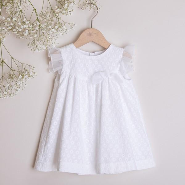 sukienka biała w haftowane kwiatuszki