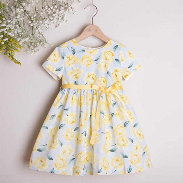 sukienka w żółte róże