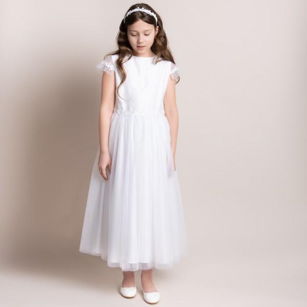 sukienka komunijna biała z ozdobną koronką