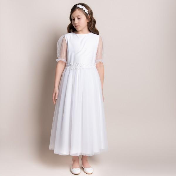 sukienka komunijna biała z koronką w pasie