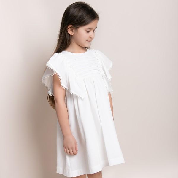sukienka bawełniana z falbaniastymi rękawami 92-116