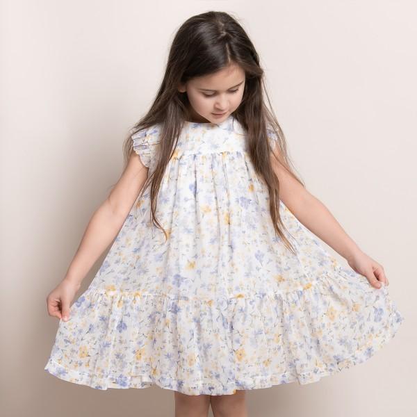 sukienka w fioletowe i żółte kwiatki