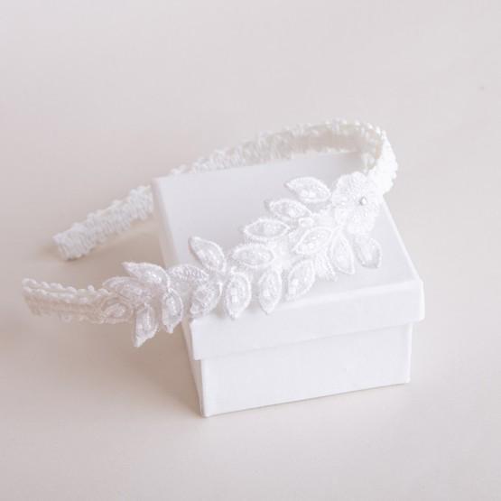opaska biała z kwiatową aplikacją
