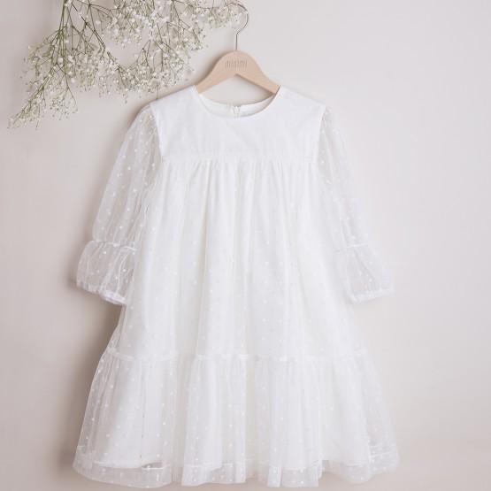 sukienka tiulowa jasnokremowa