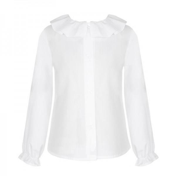 bluzka biała z falbaniastym kołnierzykiem