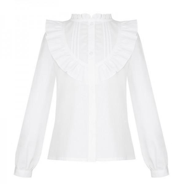 bluzka biała z falbanką i zakładkami