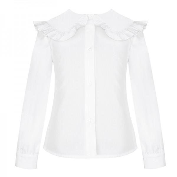 bluzka biała z ozdobnym kołnierzykiem