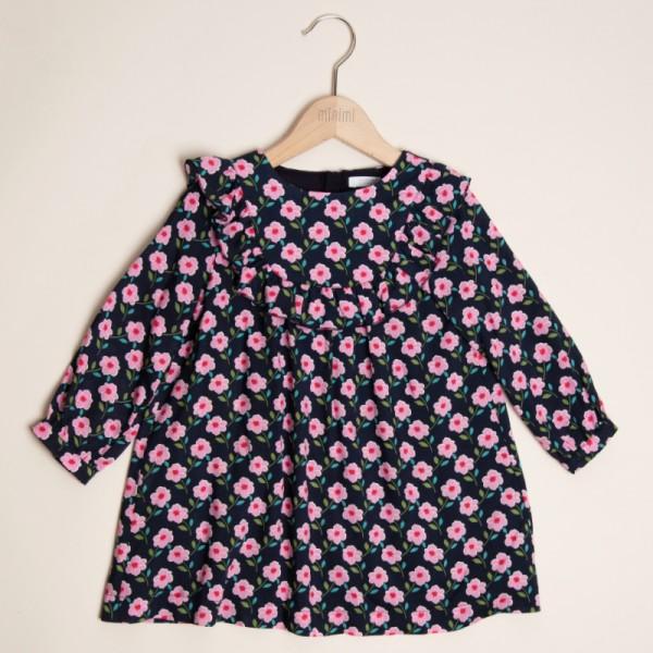 sukienka granatowa w różowe kwiatuszki