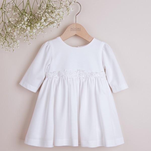 sukienka bawełniana biała z ozdobną koronką