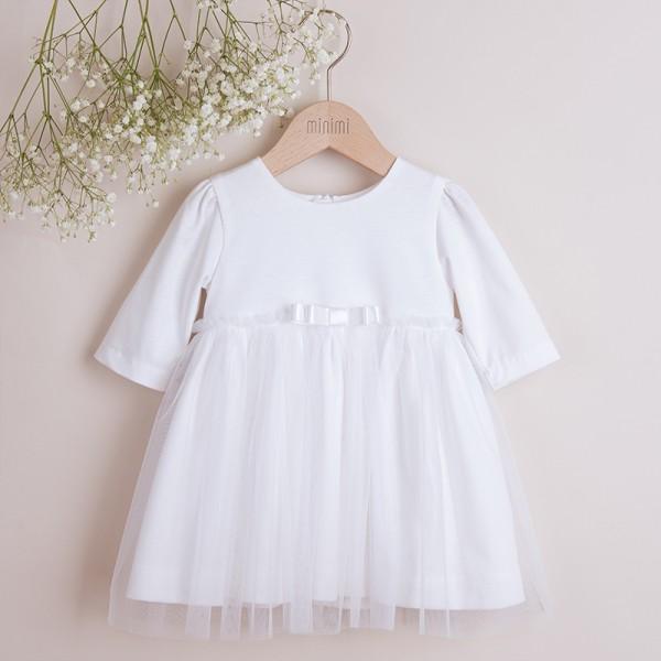 sukienka bawełniana biała z tiulem
