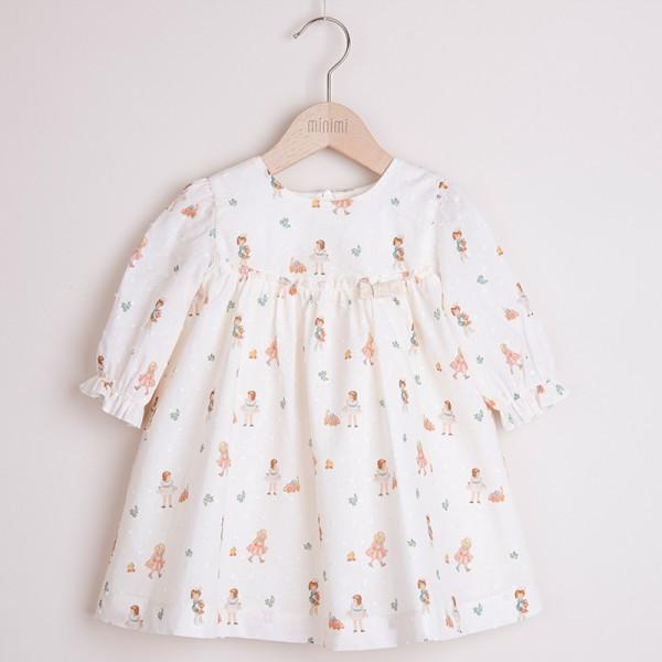 sukienka kremowa z delikatnym printem